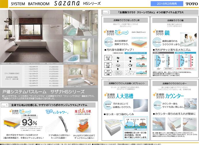 TOTO システムバスルーム sazana(サザナ) HSシリーズ