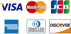 クレジットカード VISA / MasterCard / JCB / AMERICAN EXPRESS / Diners Club / DISCOVER